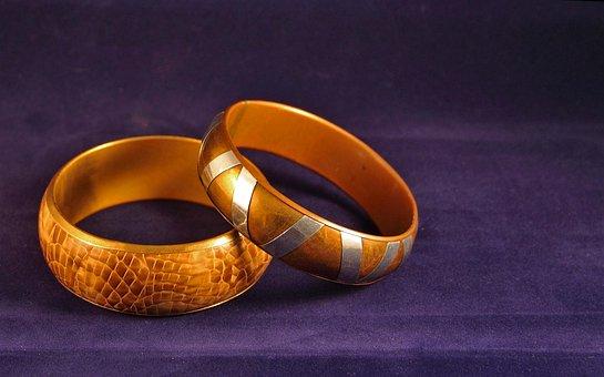 Gold, Bracelet, Hoops, Jewelry