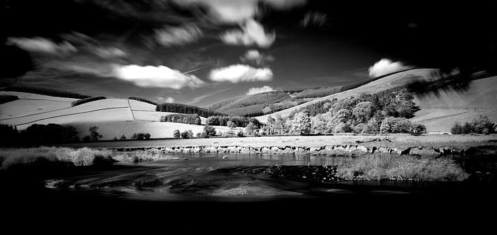 Infrared, Infra, Red, Landscape, Peebles, River Tweed