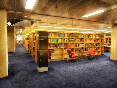 Library, Books, Shelves, Inside, Interior, Lights