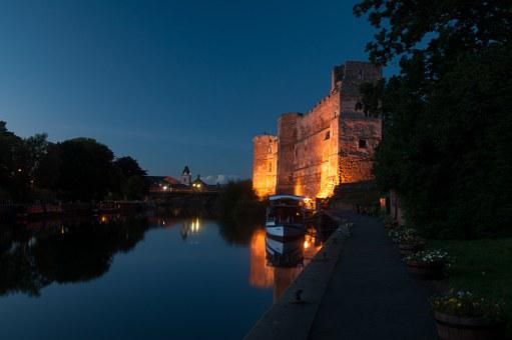 Castle, Night, Trent, River, Bridge, Nottinghamshire
