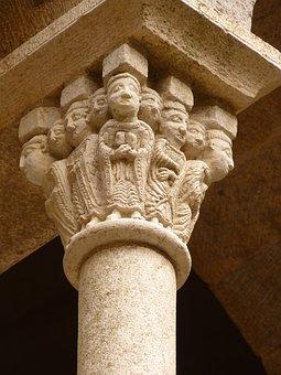 Pillar, Head, Heads, Monastery, Ruin, Old, Castle