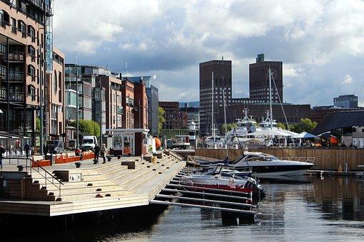 Oslo, Norway, Port, Oslofjord, City, Town Hall