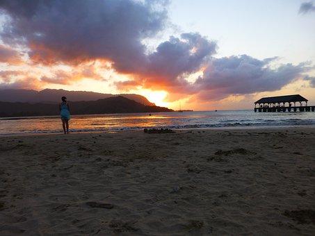 Kauai, Hawaii, Beach, Sand, Sunset, Clouds, Setting Sun