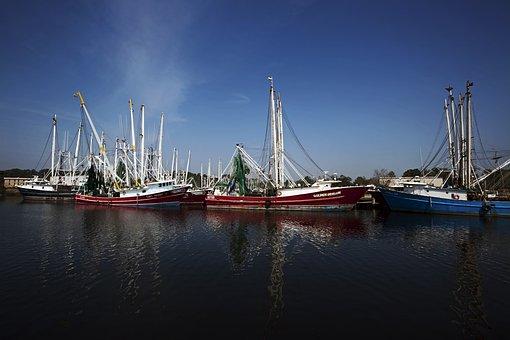 Bayou La Batre, Alabama, Ships, Shrimp Boats, Bay