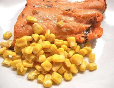 Wild Salmon, Sweet Corn, Marinated, Broiled, Fish, Food