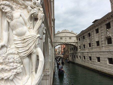 Venice, Venezia, Bridge Of Sighs, Wall, Statue, Channel