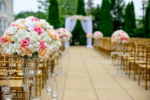 Wedding, Aisle, Flower Arrangement, Bloom, Blossom