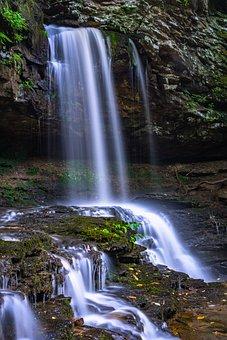Cascade, Falls, Green, Long Exposure, Moss, Nature