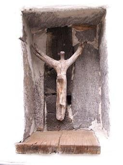 Crucifix, Crucified, Cross, Wall Niche, Driftwood