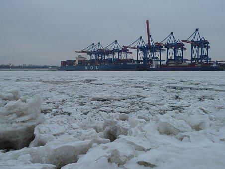 Hamburg, Ice, Winter, Frozen River, Elbe, Harburg