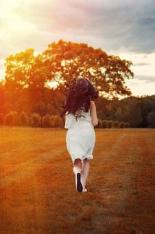 Girl, Runner, Autumn, Cool, Back View, Field, Freedom
