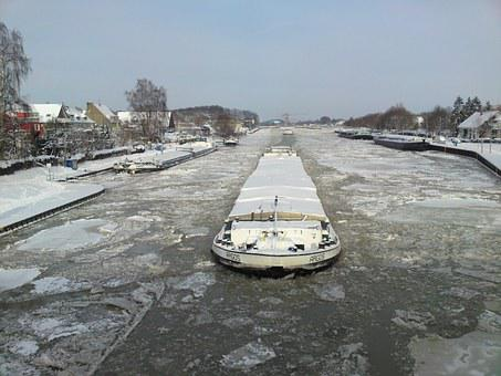 Winter, Channel, Shipping, Frozen, Water, Snow, Cold