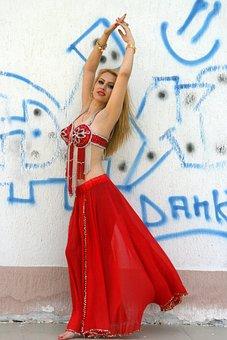 Girl, Dancer, Belly Dance, Turk, Red