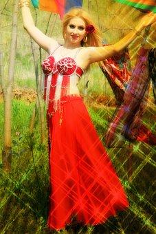 Girl, Dancer, Turk, Belly Dance, Red