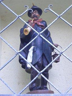 Night Watchman, Figure, Grid, Stone Figure, Niche