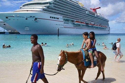 Cruise, Grand Turk, Horse On Beach, Kids, Tropical