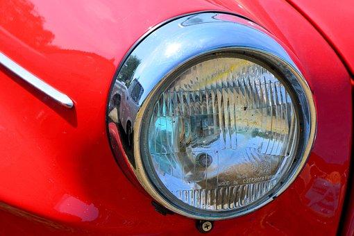 Auto, Spotlight, Lamp, Light, Vehicle, Oldtimer, Skoda