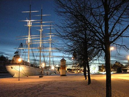 Ship, Finland Swan, Turku, Finnish, Landscape, Night