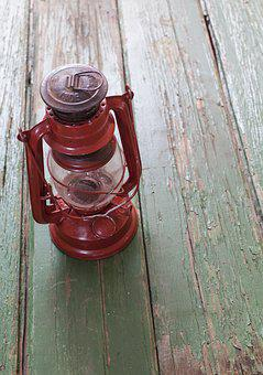 Dust, Lamp, Lantern, Light, Old, Red, Rusty, Vintage