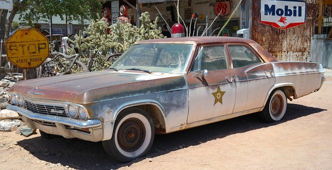 Police, Car, Old, Dust, Rusty, Route 66, Usa, Mobile