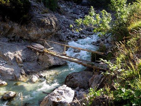 Wooden Bridge, Web, White Water, River, Bach