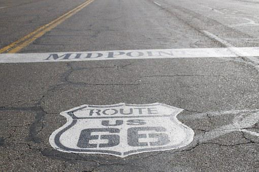 Route 66, Rte, 66, Street, Sign, Texas, Road Trip