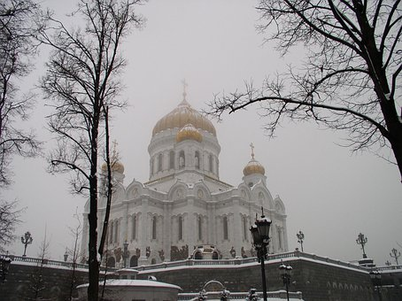 Cathedral, Christ, Saviour, Moscow, Fog, Winter