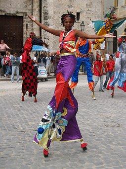 Cuba, Havana, Dancer, Square, Stilts, Theater, Dance