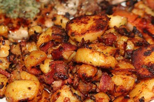 Eat, Baked, Potatoes, Potato, Bacon, Food, Stir, Fry