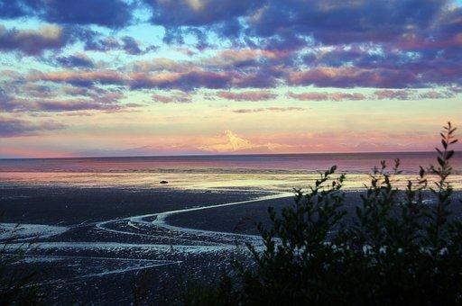 Mt, Redoubt, Cook's Inlet, Sunrise, Water, Alaska