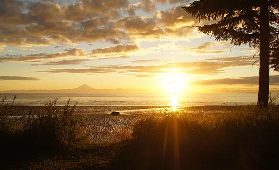 Sunset, Mountain Alaska, Cook's Inlet, Nature, Sky