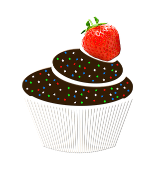Muffin, Fruit, Strawberry, The Sweetness, The Cake