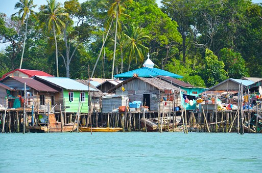 Fishing Village, Fishing, Village, Stilts, Huts, Palms