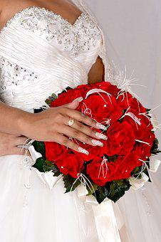 Wedding, Bouquet, Ring, Hand, Nail, Manicure, Red Rose