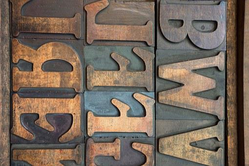 Letters, Wooden Alphabet Letters, Mirrored, Serifs