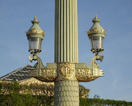 Paris, France, Column, Lamps, Beautiful, Sky, Clouds