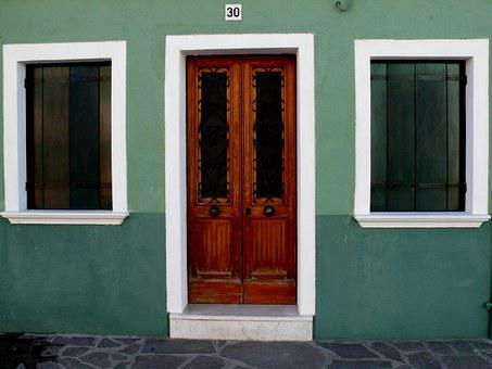 Colorful Houses, Door, Windows, Street, Burano