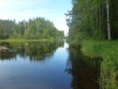 Water, River, Summer, Blue, Himmel, Bureå, Bure River