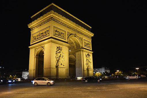 Paris, France, Champs, Elysses, Arch, De, Night