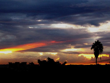 Sunset, Clouds, Variating Colors, Shapes, Horizontal