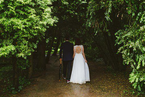 Bride, Couple, Daylight, Flower, Foliage, Gown, Groom