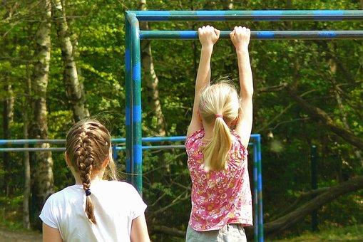 Children, Playground, Child, Girl, Hands, Hairstyles