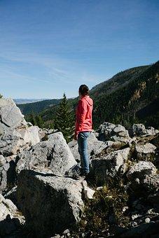 Hiking, Hiker, Girl, Woman, Jeans, Sweater, Hoodie