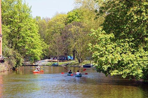 Leipzig, Karl Heine Canal, Water, River, Boats