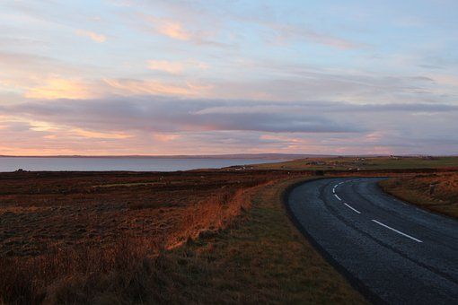 Scotland, Road, Landscape, Sunset, Wide, Ocean, Sea