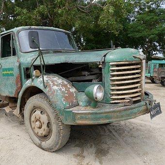 Truck, Site, Transport, Oldtimer, Jalopy, Burma