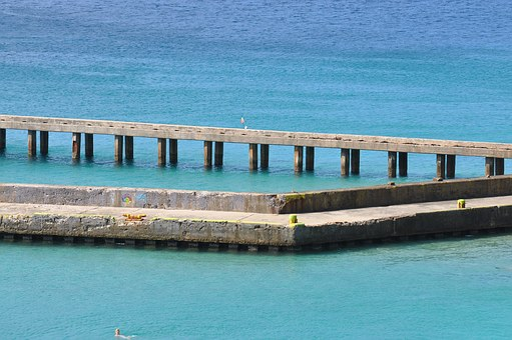 Pir, Bridge, Puerto Rico, Water, Sea, Blue, Green