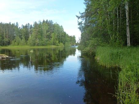 Water, River, Summer, Blue, Himmel, Bureå, Bure River