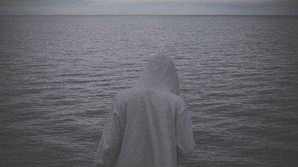 Hoodie, Sweater, Ocean, Sea, Water, People, Dark, Grey