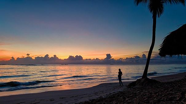 Sunrise, Beach, Horizon, Sand, Silhouette, Sea, Sky